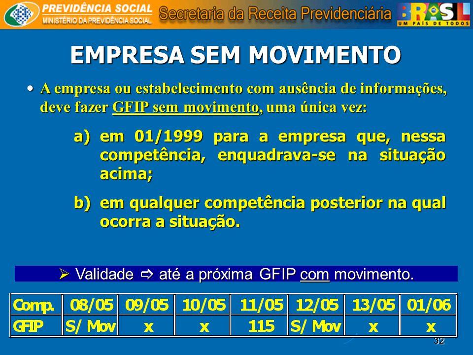 32 EMPRESA SEM MOVIMENTO A empresa ou estabelecimento com ausência de informações, deve fazer GFIP sem movimento, uma única vez: A empresa ou estabele