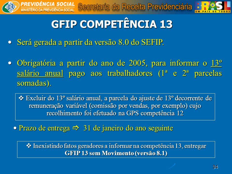 34 GFIP COMPETÊNCIA 13 Será gerada a partir da versão 8.0 do SEFIP. Será gerada a partir da versão 8.0 do SEFIP. Obrigatória a partir do ano de 2005,