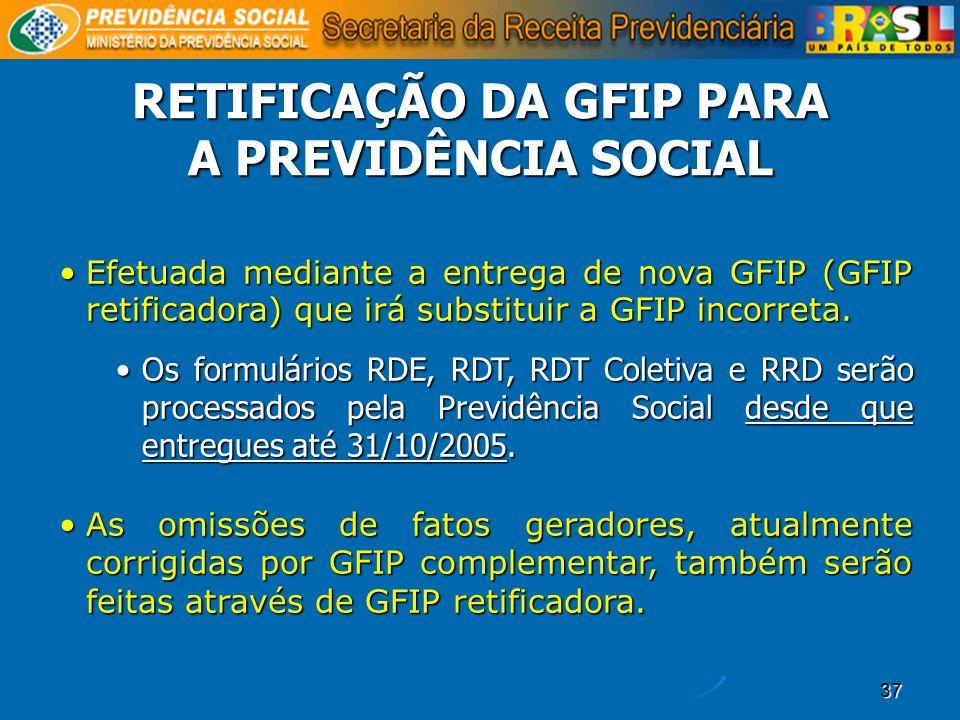 37 RETIFICAÇÃO DA GFIP PARA A PREVIDÊNCIA SOCIAL Efetuada mediante a entrega de nova GFIP (GFIP retificadora) que irá substituir a GFIP incorreta.Efet