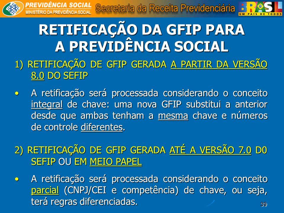 39 1) RETIFICAÇÃO DE GFIP GERADA A PARTIR DA VERSÃO 8.0 DO SEFIP A retificação será processada considerando o conceito integral de chave: uma nova GFI