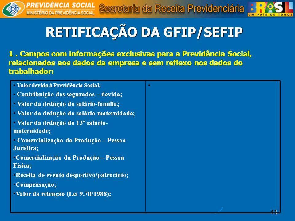 41 RETIFICAÇÃO DA GFIP/SEFIP 1. Campos com informações exclusivas para a Previdência Social, relacionados aos dados da empresa e sem reflexo nos dados