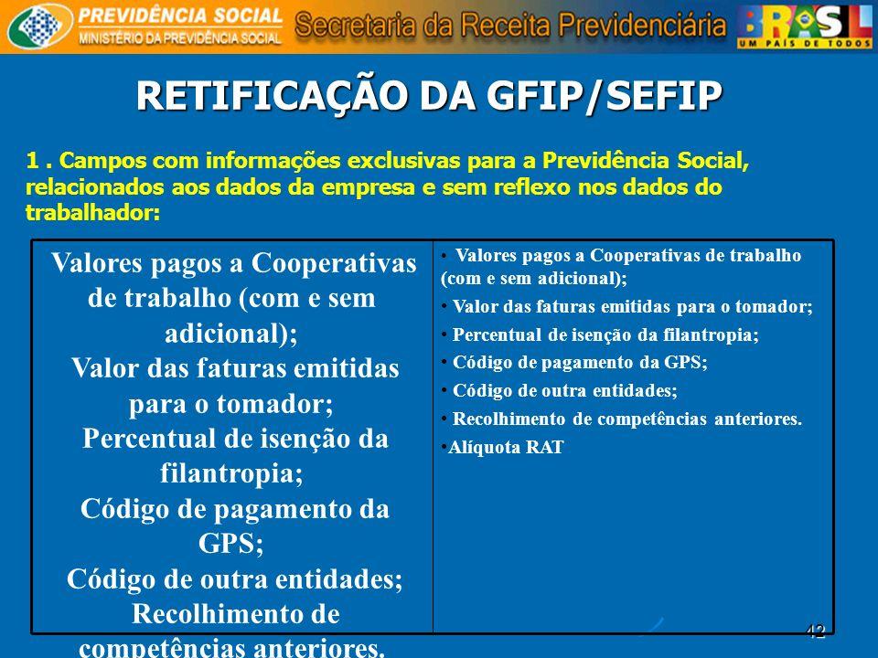 42 RETIFICAÇÃO DA GFIP/SEFIP 1. Campos com informações exclusivas para a Previdência Social, relacionados aos dados da empresa e sem reflexo nos dados