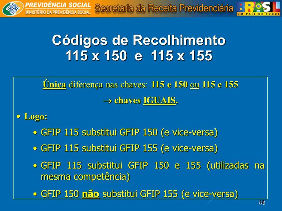 48 Códigos de Recolhimento 115 x 150 e 115 x 155 Única diferença nas chaves: 115 e 150 ou 115 e 155 chaves IGUAIS. chaves IGUAIS. Logo: Logo: GFIP 115