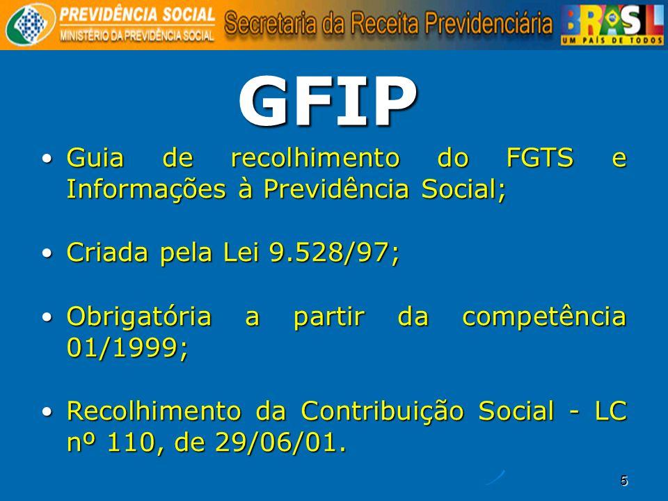 5 GFIP Guia de recolhimento do FGTS e Informações à Previdência Social; Guia de recolhimento do FGTS e Informações à Previdência Social; Criada pela L
