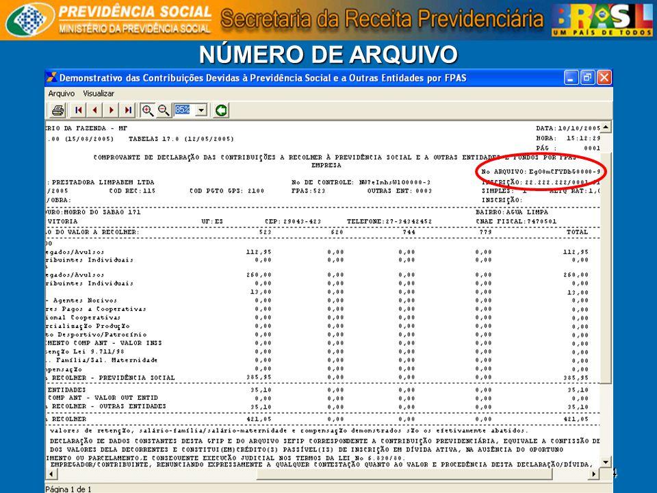 54 NÚMERO DE ARQUIVO