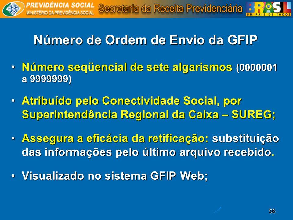 56 Número de Ordem de Envio da GFIP Número seqüencial de sete algarismos (0000001 a 9999999) Atribuído pelo Conectividade Social, por Superintendência