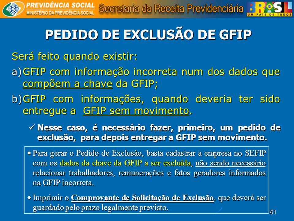 61 PEDIDO DE EXCLUSÃO DE GFIP Será feito quando existir: a)GFIP com informação incorreta num dos dados que compõem a chave da GFIP; b)GFIP com informa