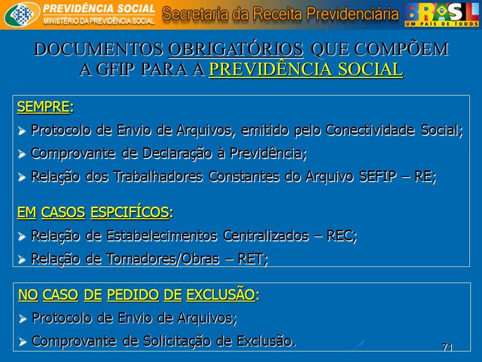 71 SEMPRE: Protocolo de Envio de Arquivos, emitido pelo Conectividade Social; Protocolo de Envio de Arquivos, emitido pelo Conectividade Social; Compr