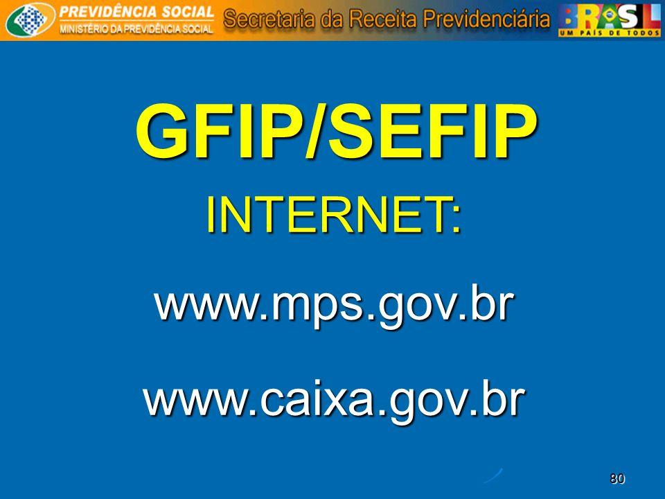 80 GFIP/SEFIP INTERNET:www.mps.gov.brwww.caixa.gov.br