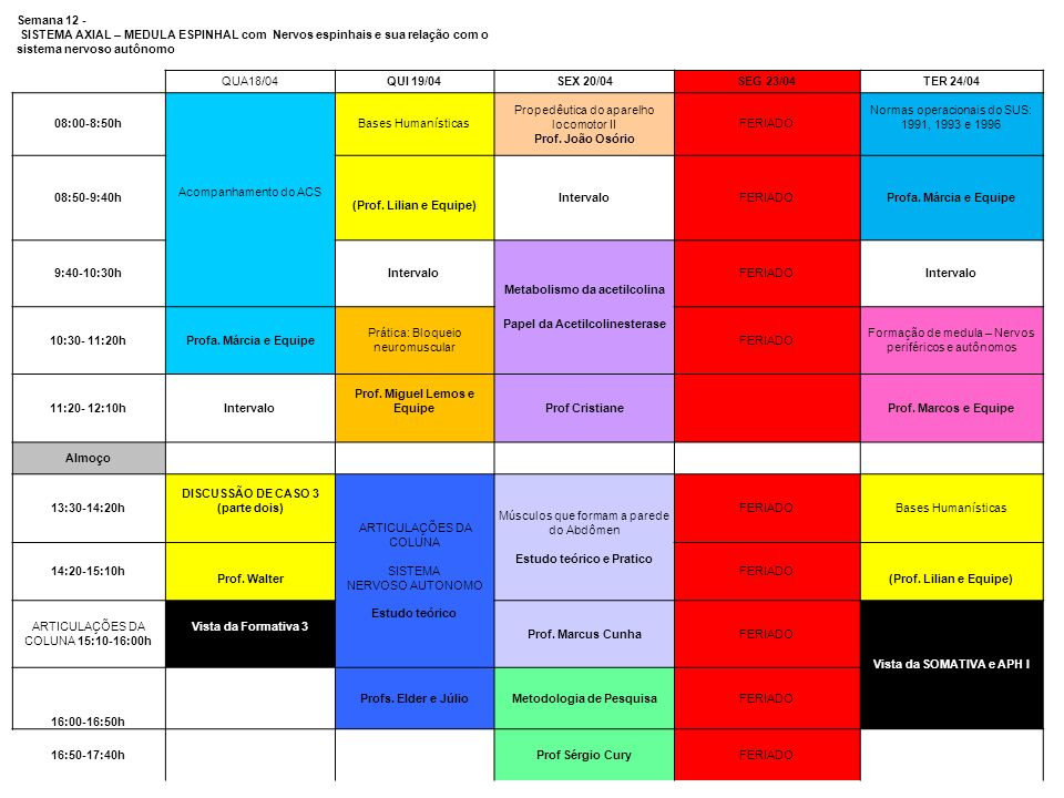 Semana 12 - SISTEMA AXIAL – MEDULA ESPINHAL com Nervos espinhais e sua relação com o sistema nervoso autônomo QUA18/04QUI 19/04SEX 20/04SEG 23/04TER 2
