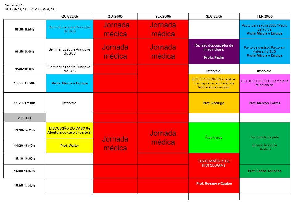 Semana 17 – INTEGRAÇÃO: DOR E EMOÇÃO QUA 23/05QUI 24/05SEX 25/05SEG 28/05TER 29/05 08:00-8:50h Seminários sobre Principios do SUS Jornada médica Pacto