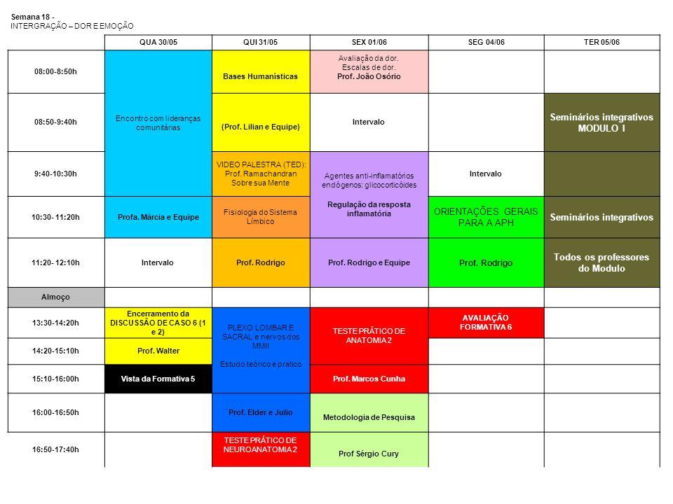 Semana 18 - INTERGRAÇÃO – DOR E EMOÇÃO QUA 30/05QUI 31/05SEX 01/06SEG 04/06TER 05/06 08:00-8:50h Encontro com lideranças comunitárias Bases Humanístic