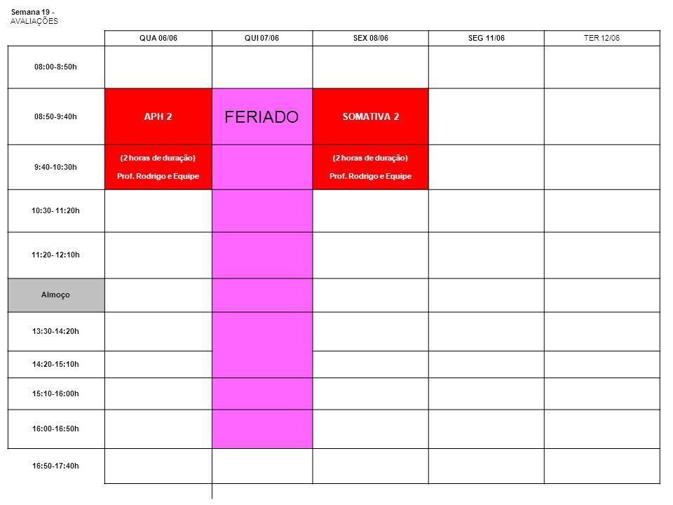 Semana 19 - AVALIAÇÕES QUA 06/06QUI 07/06SEX 08/06SEG 11/06TER 12/06 08:00-8:50h 08:50-9:40h APH 2 FERIADO SOMATIVA 2 9:40-10:30h (2 horas de duração)