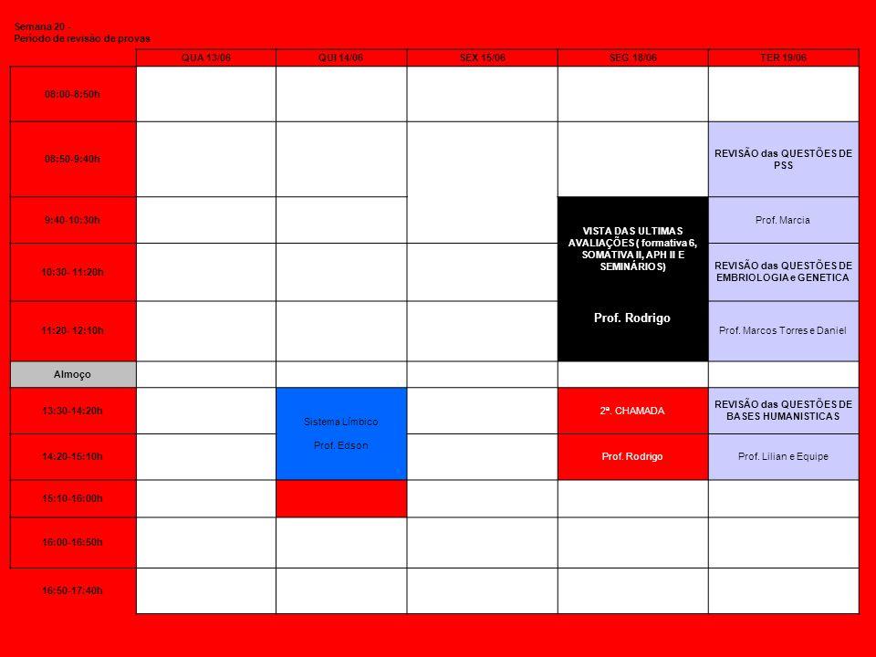 Semana 20 - Período de revisão de provas QUA 13/06QUI 14/06SEX 15/06SEG 18/06TER 19/06 08:00-8:50h 08:50-9:40h REVISÃO das QUESTÕES DE PSS 9:40-10:30h