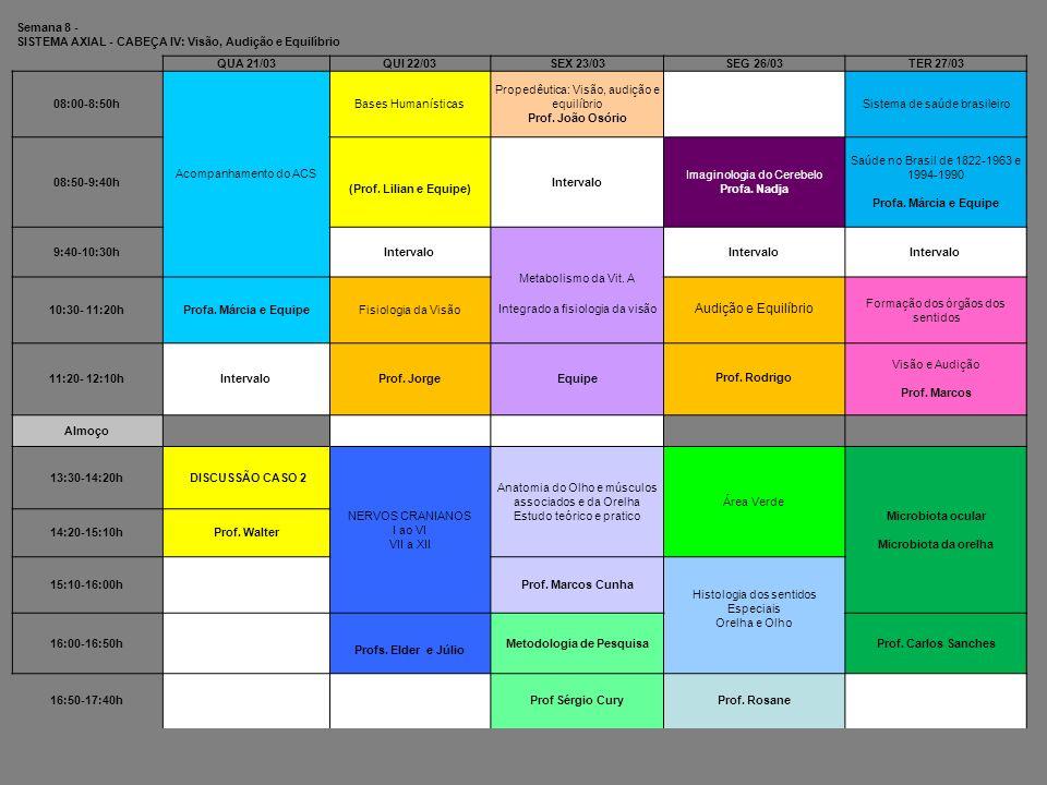 Semana 8 - SISTEMA AXIAL - CABEÇA IV: Visão, Audição e Equilíbrio QUA 21/03QUI 22/03SEX 23/03SEG 26/03TER 27/03 08:00-8:50h Acompanhamento do ACS Base
