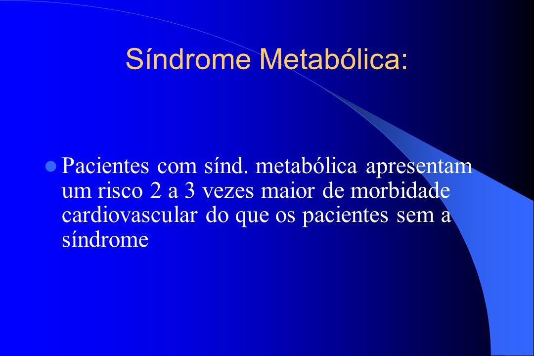 Síndrome Metabólica: Pacientes com sínd. metabólica apresentam um risco 2 a 3 vezes maior de morbidade cardiovascular do que os pacientes sem a síndro