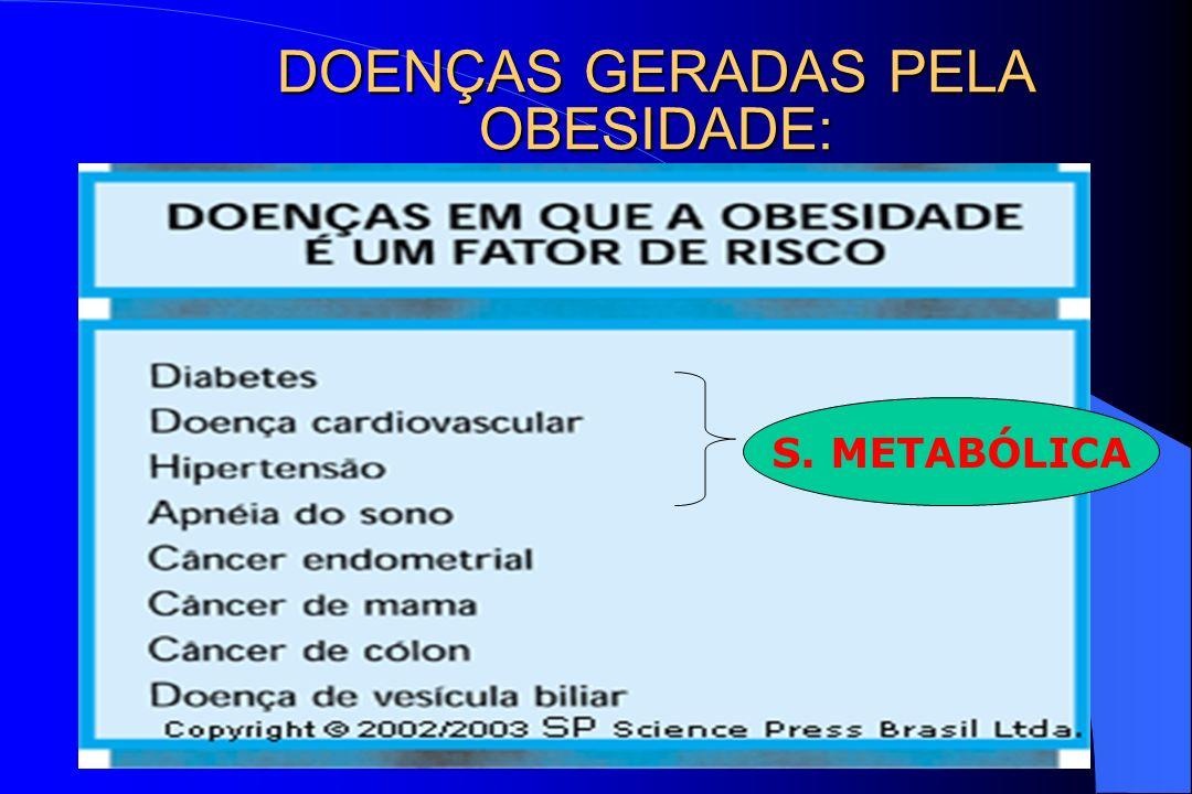 DOENÇAS GERADAS PELA OBESIDADE: S. METABÓLICA