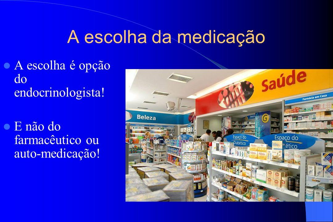 A escolha da medicação A escolha é opção do endocrinologista! E não do farmacêutico ou auto-medicação!