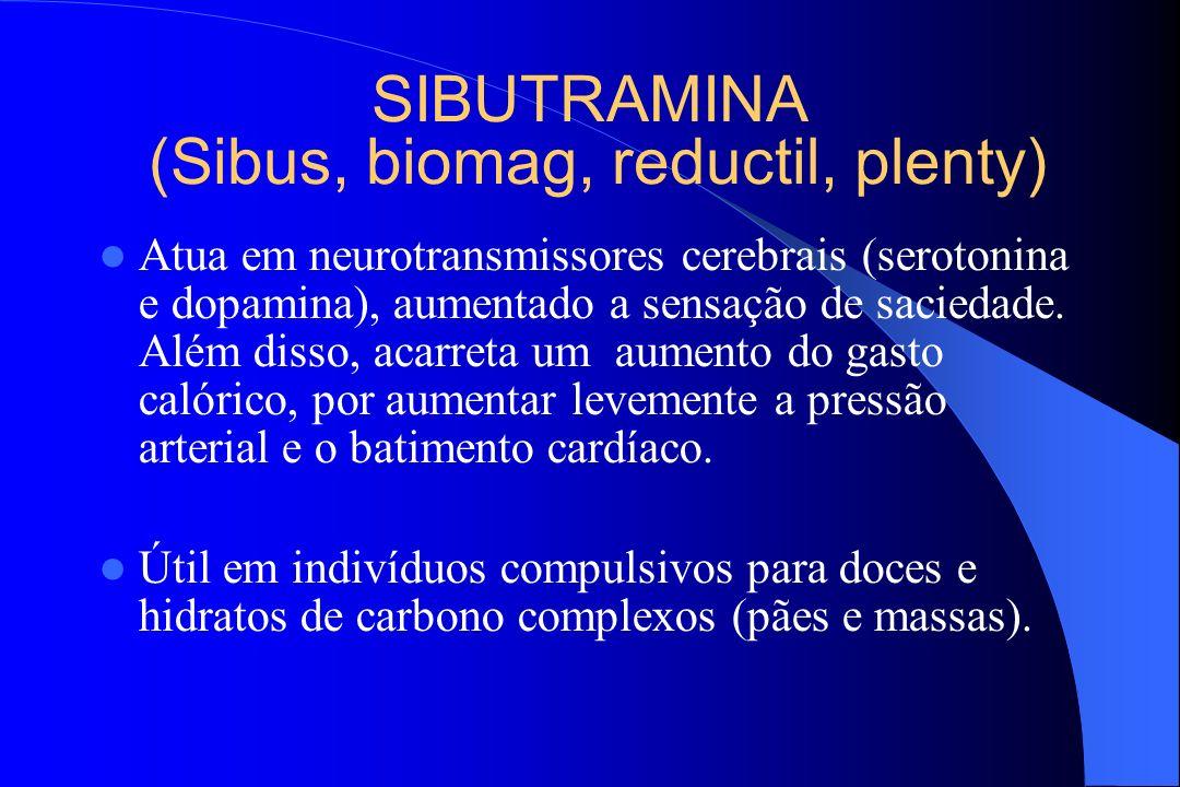 SIBUTRAMINA (Sibus, biomag, reductil, plenty) Atua em neurotransmissores cerebrais (serotonina e dopamina), aumentado a sensação de saciedade. Além di