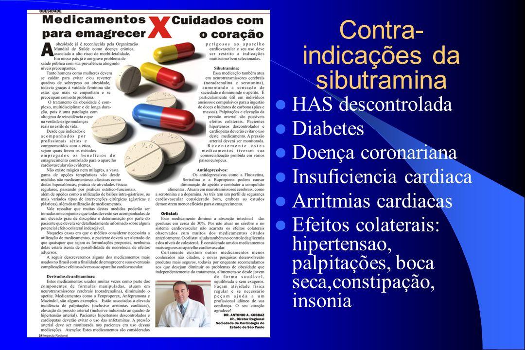 Contra- indicações da sibutramina HAS descontrolada Diabetes Doença coronariana Insuficiencia cardiaca Arritmias cardiacas Efeitos colaterais: hiperte