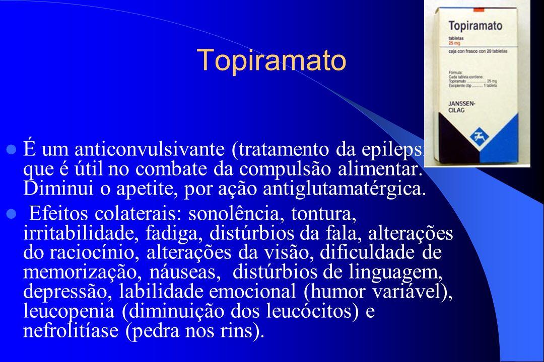 Topiramato É um anticonvulsivante (tratamento da epilepsia), que é útil no combate da compulsão alimentar. Diminui o apetite, por ação antiglutamatérg