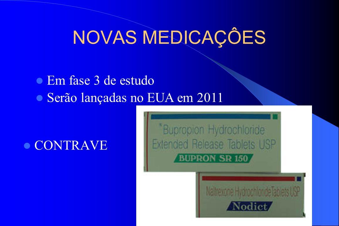 NOVAS MEDICAÇÔES CONTRAVE Em fase 3 de estudo Serão lançadas no EUA em 2011
