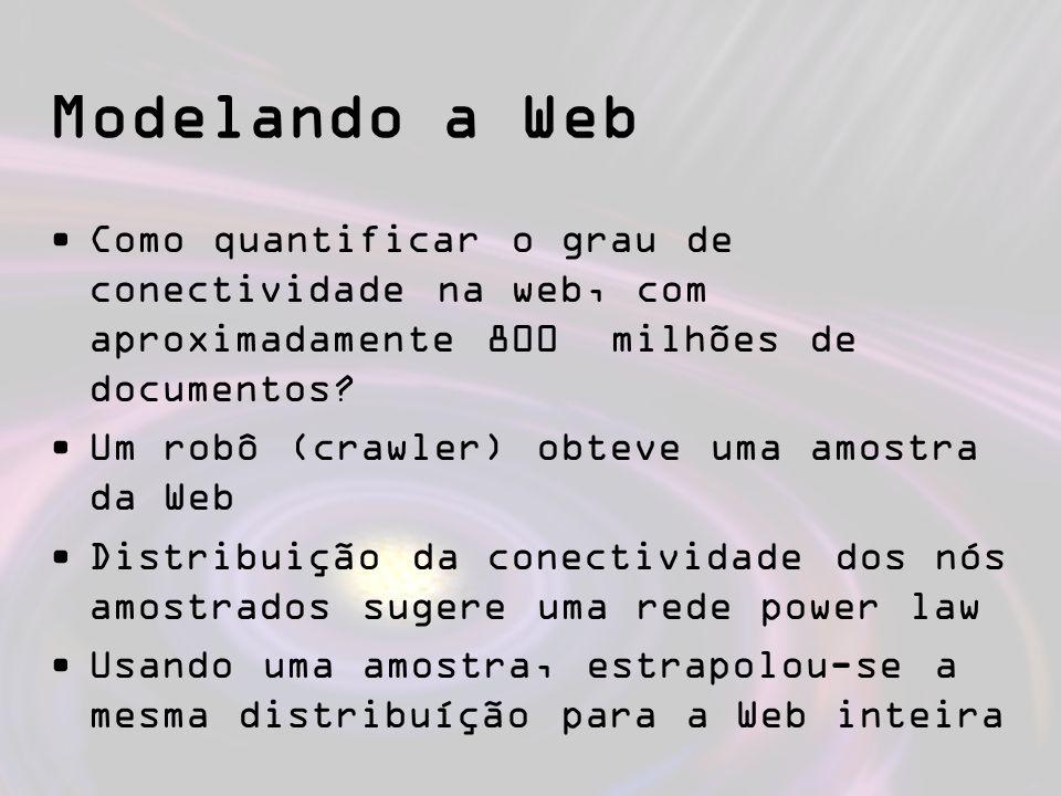 Modelando a Web Como quantificar o grau de conectividade na web, com aproximadamente 800 milhões de documentos? Um robô (crawler) obteve uma amostra d