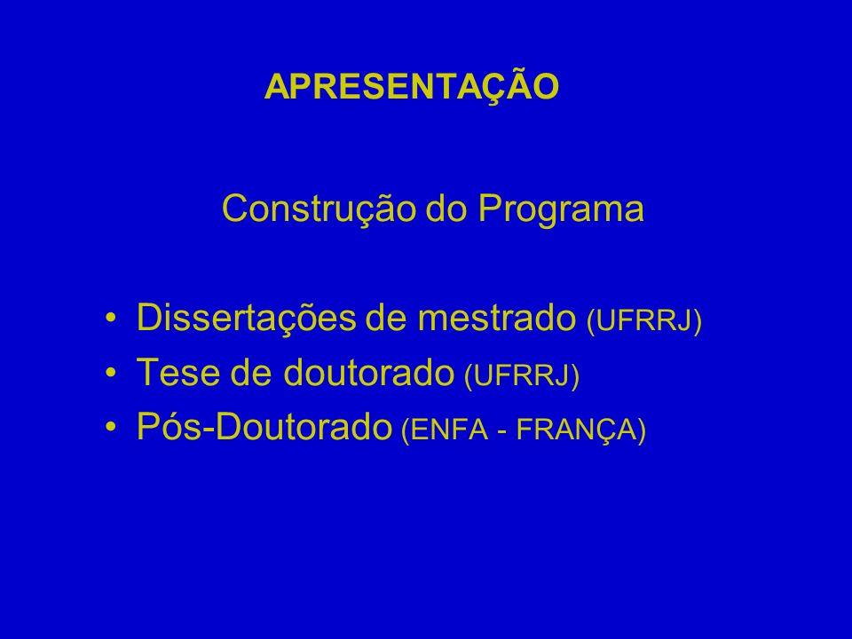 APRESENTAÇÃO Construção do Programa Dissertações de mestrado (UFRRJ) Tese de doutorado (UFRRJ) Pós-Doutorado (ENFA - FRANÇA)