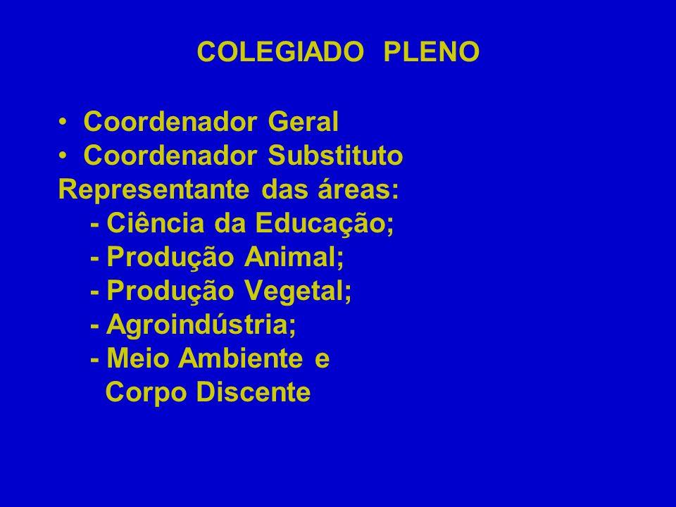 COLEGIADO PLENO Coordenador Geral Coordenador Substituto Representante das áreas: - Ciência da Educação; - Produção Animal; - Produção Vegetal; - Agro