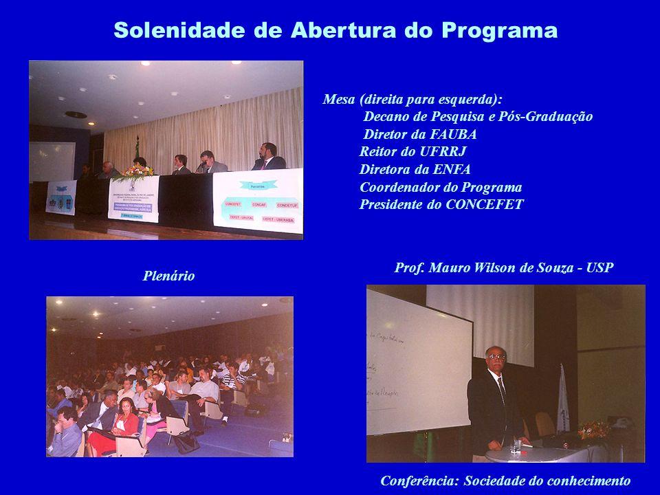 Solenidade de Abertura do Programa Mesa (direita para esquerda): Decano de Pesquisa e Pós-Graduação Diretor da FAUBA Reitor do UFRRJ Diretora da ENFA