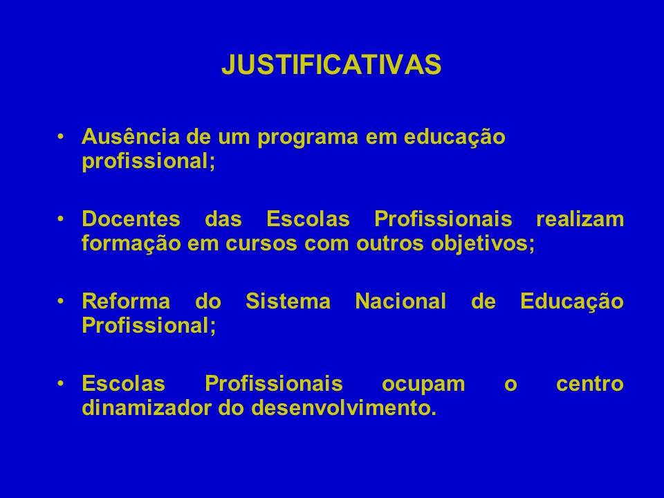 JUSTIFICATIVAS Ausência de um programa em educação profissional; Docentes das Escolas Profissionais realizam formação em cursos com outros objetivos;
