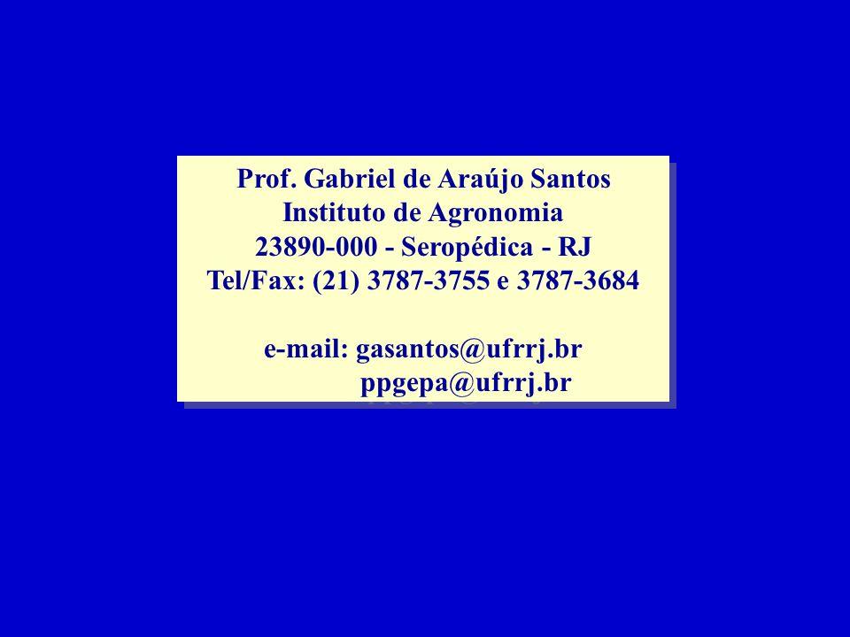 Prof. Gabriel de Araújo Santos Instituto de Agronomia 23890-000 - Seropédica - RJ Tel/Fax: (21) 3787-3755 e 3787-3684 e-mail: gasantos@ufrrj.br ppgepa