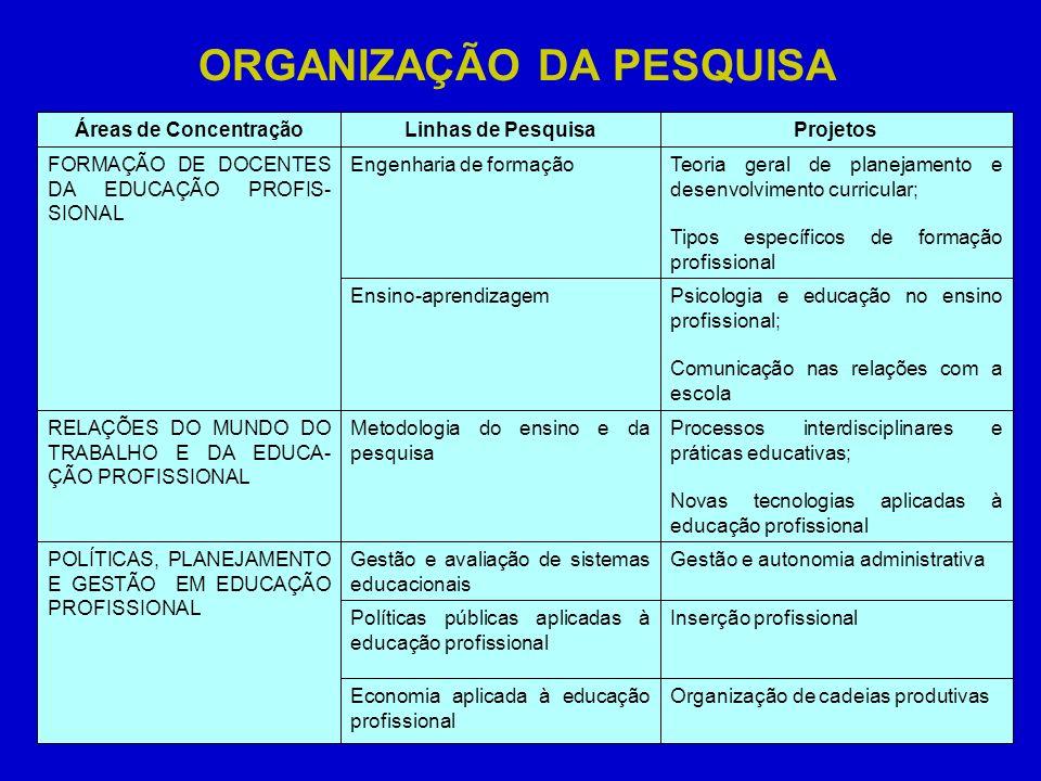 ORGANIZAÇÃO DA PESQUISA Organização de cadeias produtivasEconomia aplicada à educação profissional Inserção profissionalPolíticas públicas aplicadas à