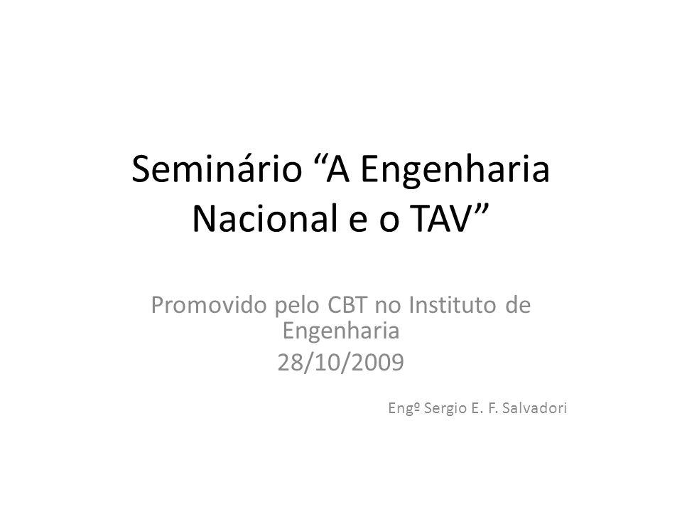 Seminário A Engenharia Nacional e o TAV Promovido pelo CBT no Instituto de Engenharia 28/10/2009 Engº Sergio E.