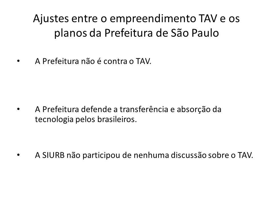 Ajustes entre o empreendimento TAV e os planos da Prefeitura de São Paulo A Prefeitura não é contra o TAV.