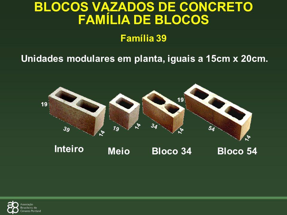 Família 39 Inteiro BLOCOS VAZADOS DE CONCRETO FAMÍLIA DE BLOCOS 39 19 34 54 19 14 19 14 Unidades modulares em planta, iguais a 15cm x 20cm. MeioBloco