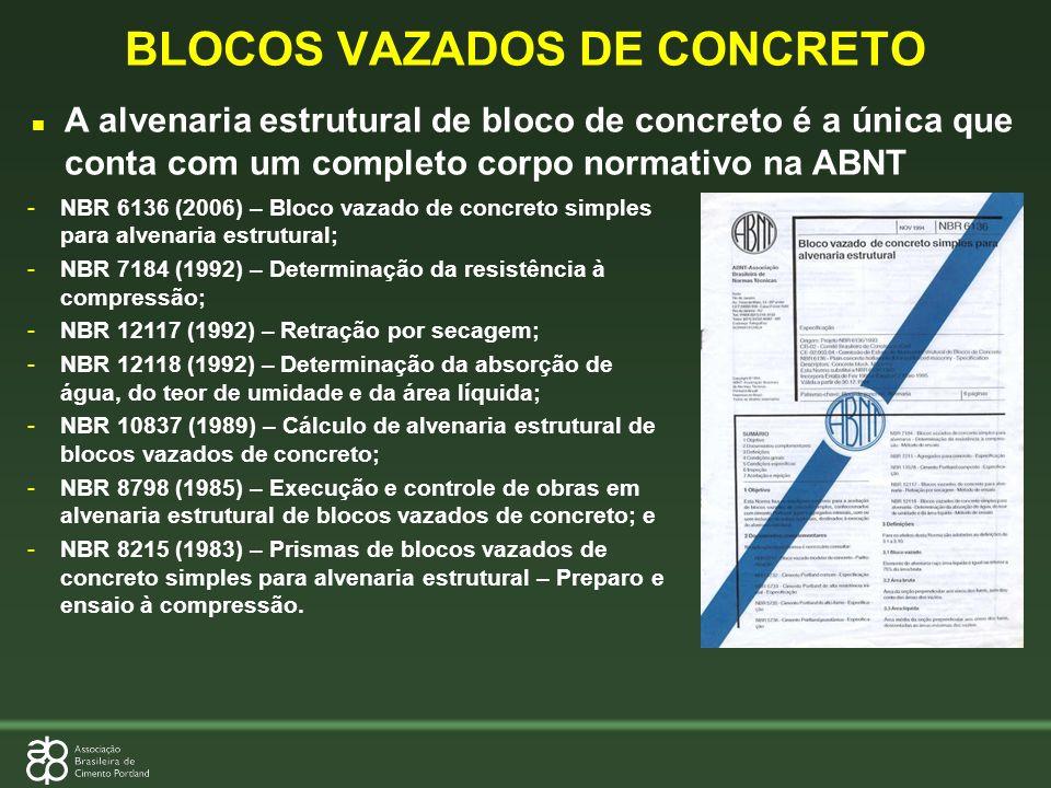 n A alvenaria estrutural de bloco de concreto é a única que conta com um completo corpo normativo na ABNT -NBR 6136 (2006) – Bloco vazado de concreto