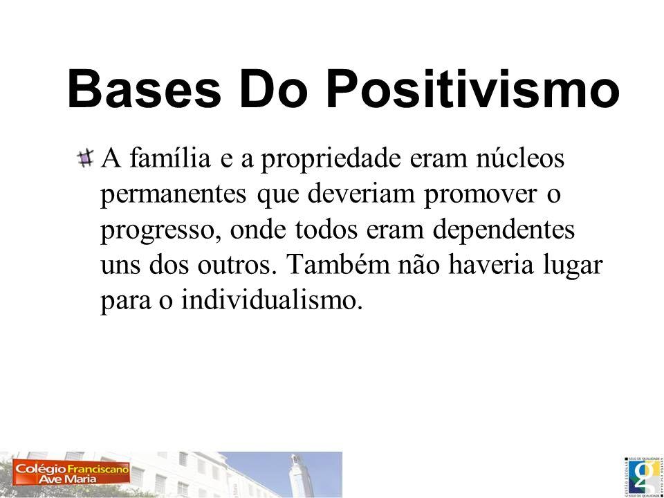 Bases Do Positivismo A família e a propriedade eram núcleos permanentes que deveriam promover o progresso, onde todos eram dependentes uns dos outros.