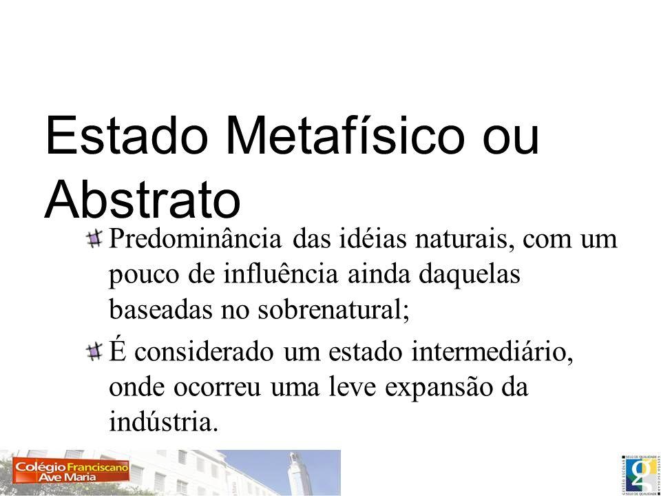 Estado Metafísico ou Abstrato Predominância das idéias naturais, com um pouco de influência ainda daquelas baseadas no sobrenatural; É considerado um estado intermediário, onde ocorreu uma leve expansão da indústria.
