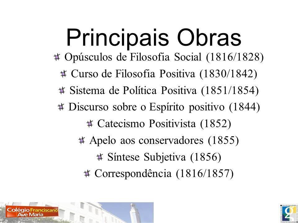 Principais Obras Opúsculos de Filosofia Social (1816/1828) Curso de Filosofia Positiva (1830/1842) Sistema de Política Positiva (1851/1854) Discurso s
