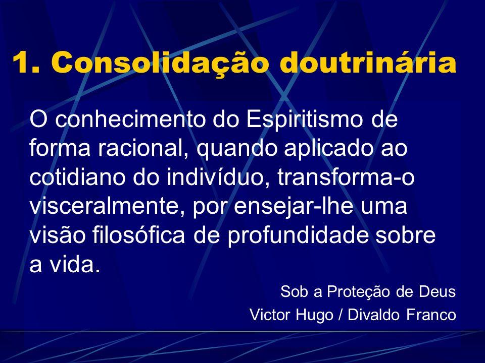 1. Consolidação doutrinária O conhecimento do Espiritismo de forma racional, quando aplicado ao cotidiano do indivíduo, transforma-o visceralmente, po