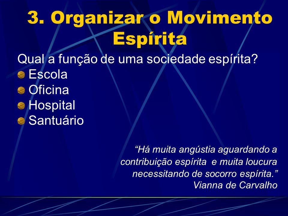 3. Organizar o Movimento Espírita Qual a função de uma sociedade espírita? Escola Oficina Hospital Santuário Há muita angústia aguardando a contribuiç