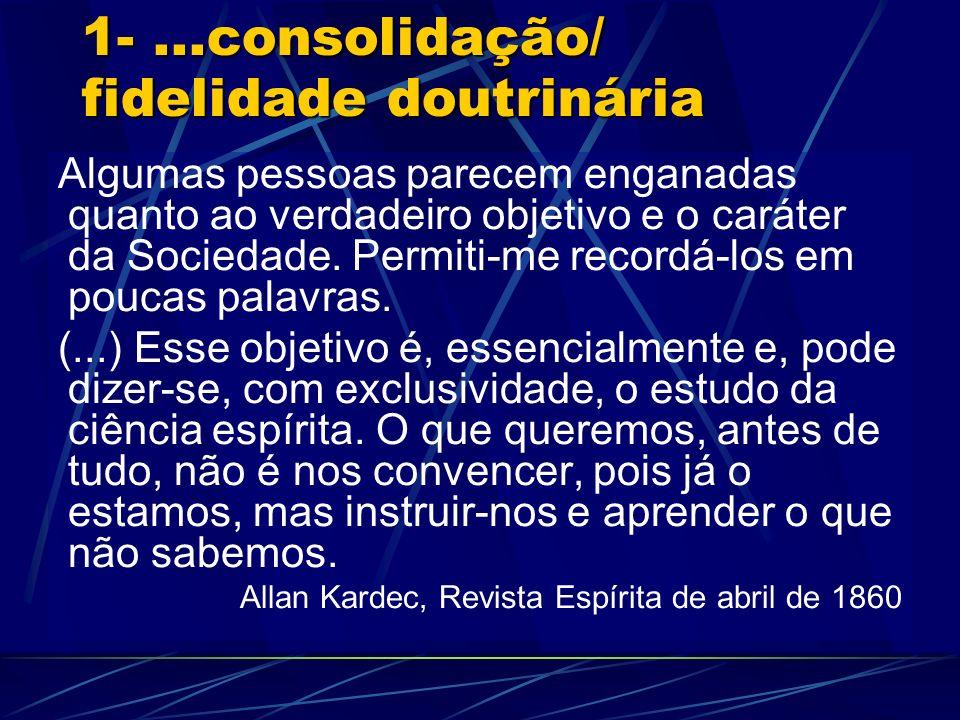 1-...consolidação/ fidelidade doutrinária Algumas pessoas parecem enganadas quanto ao verdadeiro objetivo e o caráter da Sociedade. Permiti-me recordá