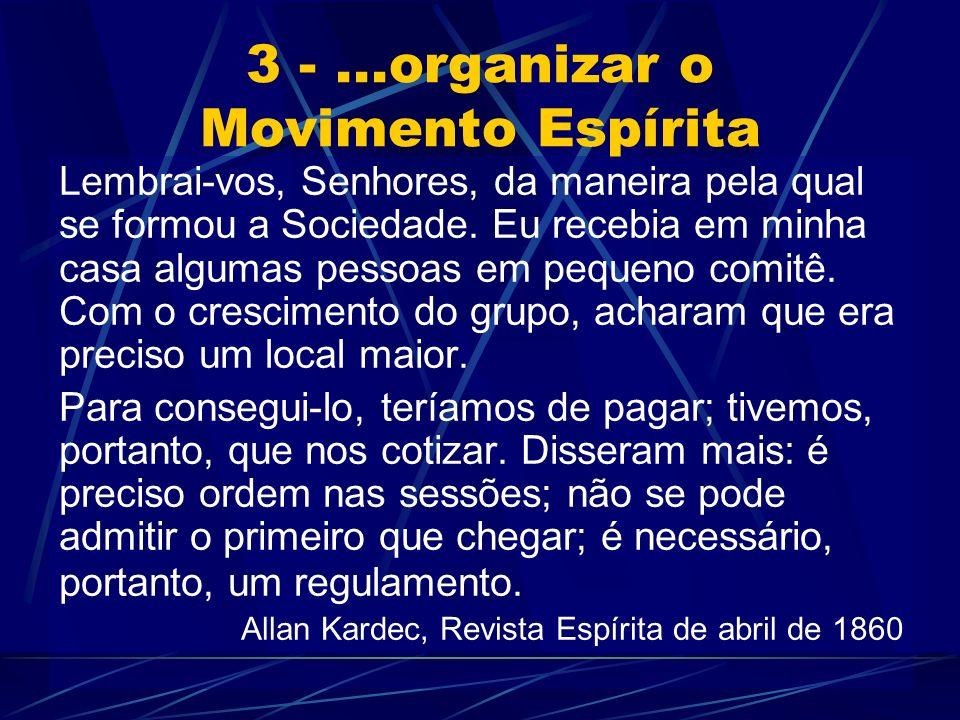 3 -...organizar o Movimento Espírita Lembrai-vos, Senhores, da maneira pela qual se formou a Sociedade.