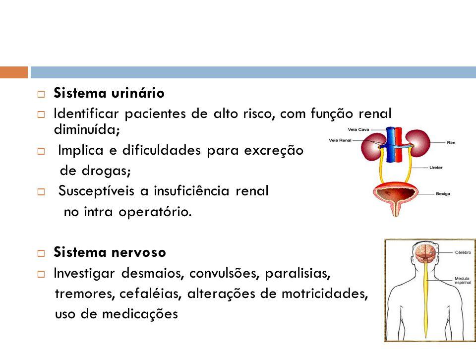 Sistema urinário Identificar pacientes de alto risco, com função renal diminuída; Implica e dificuldades para excreção de drogas; Susceptíveis a insuf