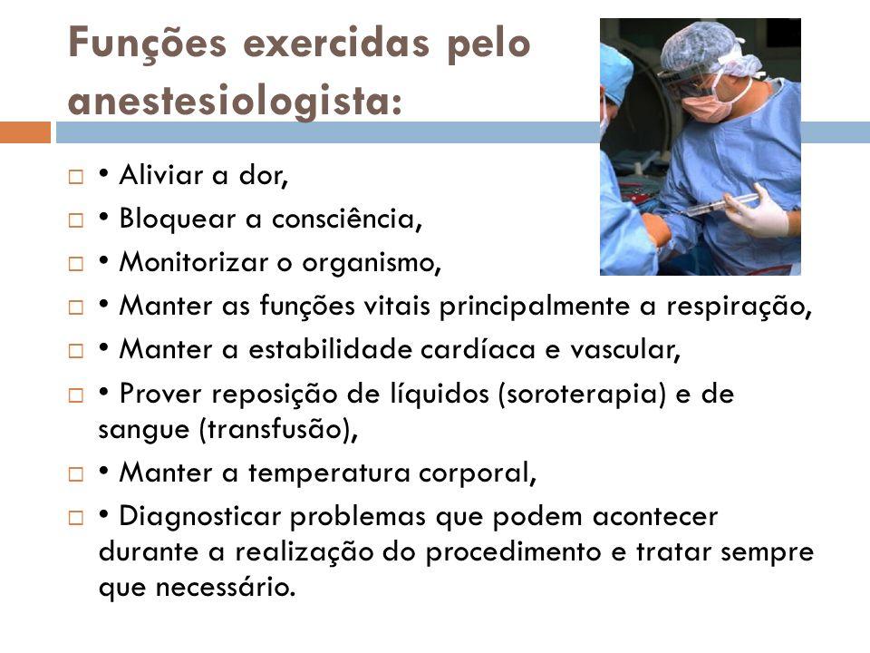 Funções exercidas pelo anestesiologista: Aliviar a dor, Bloquear a consciência, Monitorizar o organismo, Manter as funções vitais principalmente a res