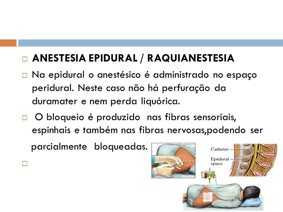 ANESTESIA EPIDURAL / RAQUIANESTESIA Na epidural o anestésico é administrado no espaço peridural. Neste caso não há perfuração da duramater e nem perda