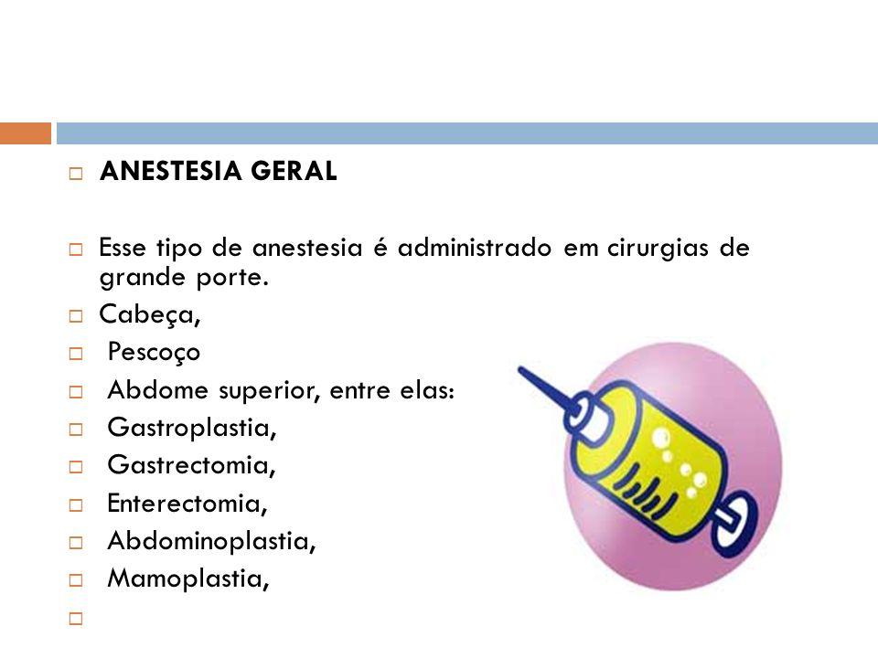 ANESTESIA GERAL Esse tipo de anestesia é administrado em cirurgias de grande porte. Cabeça, Pescoço Abdome superior, entre elas: Gastroplastia, Gastre