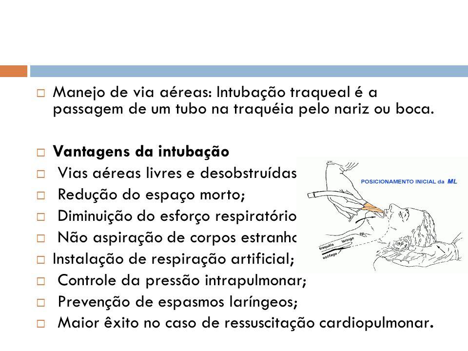Manejo de via aéreas: Intubação traqueal é a passagem de um tubo na traquéia pelo nariz ou boca. Vantagens da intubação Vias aéreas livres e desobstru