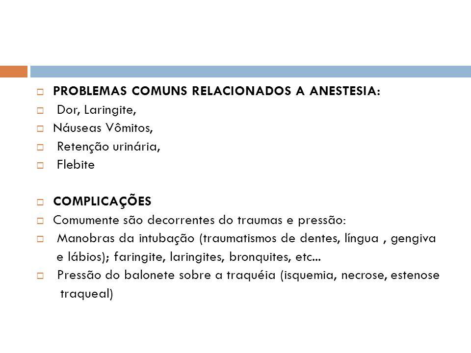 PROBLEMAS COMUNS RELACIONADOS A ANESTESIA: Dor, Laringite, Náuseas Vômitos, Retenção urinária, Flebite COMPLICAÇÕES Comumente são decorrentes do traum